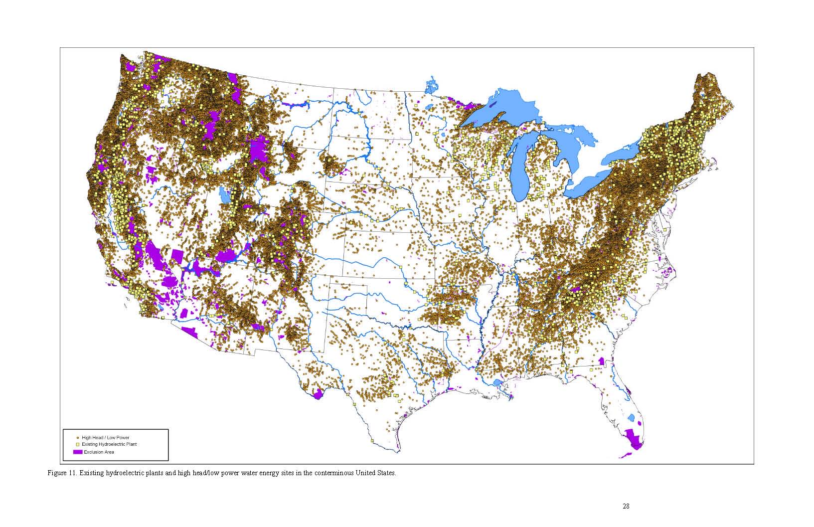 United States Existing Hydroelectric Plants Map